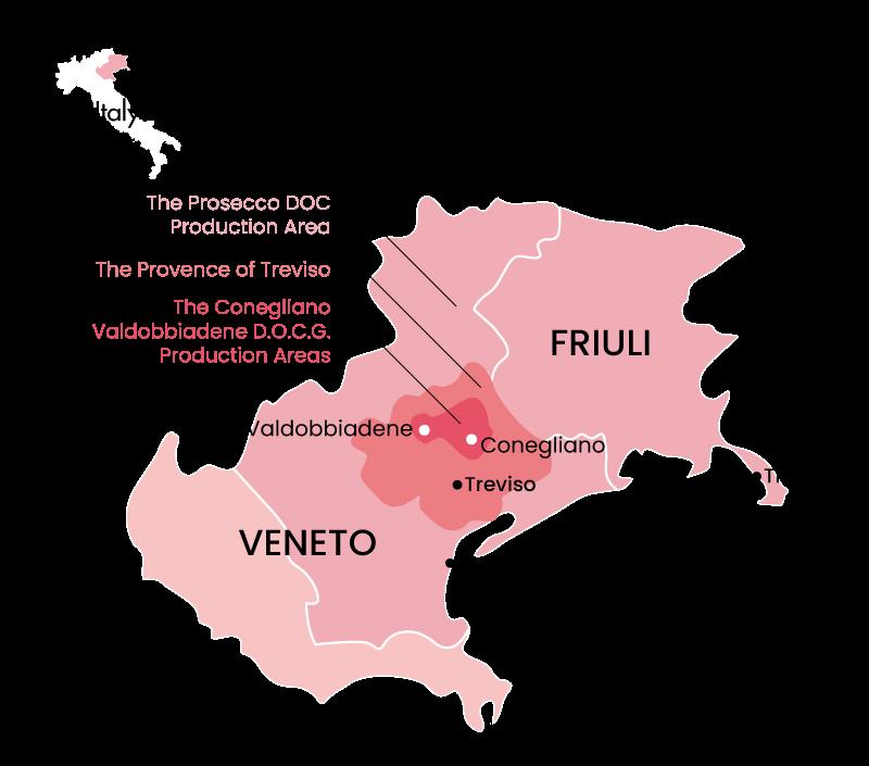 map of Veneto and Friuli wine production region