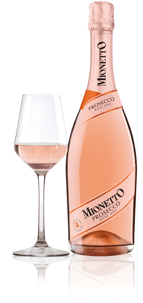 mionetto prosecco rose with glass